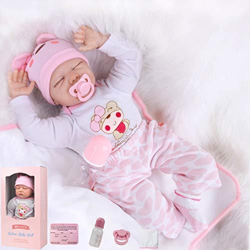 ZIYIUI Reborn Baby-Puppe 22Zoll 55cm Weiches Vinylsilikon Realistisch Baby Puppe lebensecht Reborn Baby...