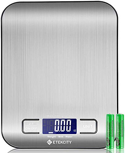 ETEKCITY Küchenwaage Digitalwaage elektronische Waage 5KG mit großem LCD-Display, ultradünne Küchenwaage...