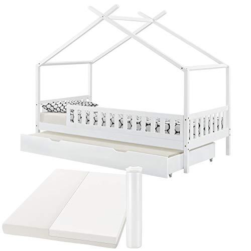 ArtLife Kinderbett Tipi 90 x 200 cm mit Matratze, Bettkasten, Rausfallschutz und Lattenrost – Bett für...