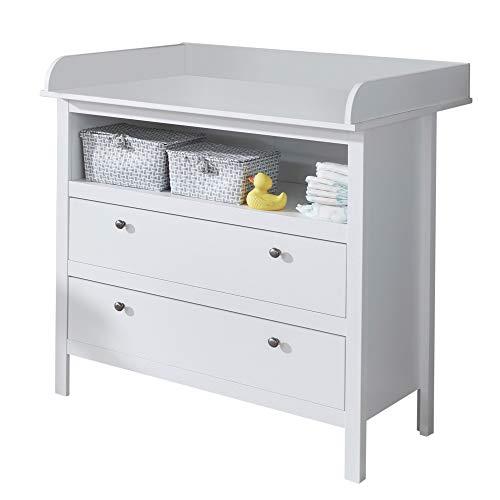 trendteam smart living Babyzimmer Wickelkommode Kommode Ole, 90 x 104 x 78 cm in Weiß mit viel Stauraum und...
