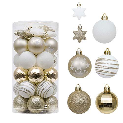 Valery Madelyn Weihnachtskugeln 35tlg. 5cm Plastik Christbaumkugeln Set, Weihnachtsbaumschmuck Dekoration...