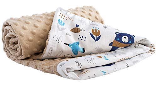 Medi Partners Krabbeldecke 100% Baumwolle 75x100cm doppelseitig multifunktional Minky Kuscheldecke für...