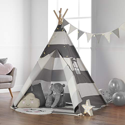 Haus Projekt Tipi Zelt Für Kinder mit Lichterkette, Wimpelkette, Aufbewahrungstasche & Bodenmatte –...