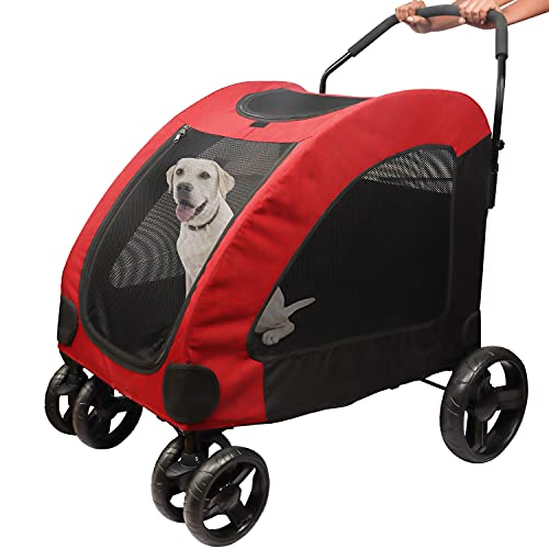 BELLE VOUS Hunde Buggy Jogger Kinderwagen für Hunde und Katzen - Jogger Buggy bis 50kg -Klappbar für die...