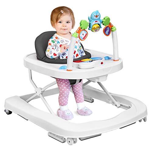 COSTWAY 2-in-1 höhenverstellbare Lauflernhilfe, Baby Walker mit Musik und Lichter, Gehfrei klappbar,...