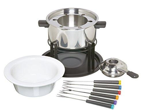 KitchenCraft 3-in-1 Fondueset mit Farblich Markierten Fonduegabeln (für Schokoladen-, Fleisch- und...