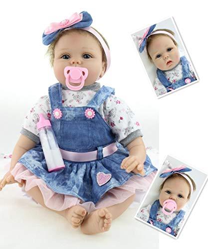 ZIYIUI Reborn Babypuppe 22'/55cm Lebensechte Weiche Vinyl Silikon Reborn Baby Mädchen Babypuppe Realistische...