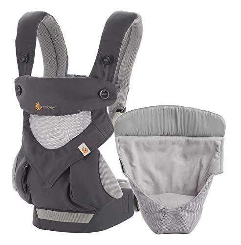 Ergobaby Babytrage 360 Cool Air Carbon Grey inkl. Neugeboreneneinsatz, 4in1 Baby Tragehilfe Rückentrage...