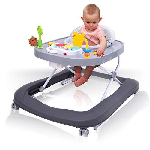 2IN1 Lauflernhilfe/Babyschaukel mit Spielcenter (12 Melodien) und Einlage (BLAU)