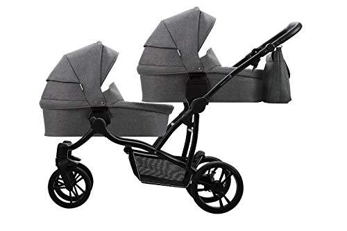 Bebetto Bebetto42 Simple Twin Zwillingskinderwagen & Geschwisterwagen Tandem KombiKinderwagen Duo Babywagen...