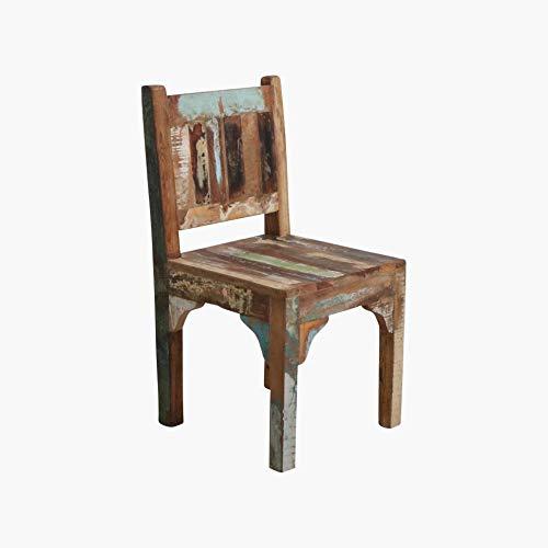 STUFF Loft Kinderstuhl Kindermöbel Vintage Altholz im Shabby-Chic aus massiv Holz - bunt im 2er-Set