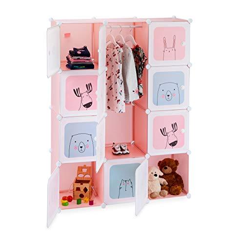 Relaxdays Steckregal Kinderzimmer, Mädchen, lustige Motive, Kunststoff, DIY Schrank mit Türen, HBT...