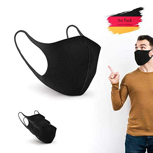 BartZart 3er Staubschutzmasken aus EIS Seide I waschbar und wiederverwendbar I Face Mask Black I Flexible...