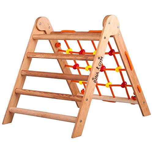 RINAGYM-Kletterdreieck - Indoor-Leiter mit Kletternetz - Holzrahmen für Kinder, fördert das Gleichgewicht -...