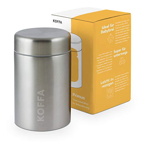 KOFFA® Primus - Auslaufsicherer Thermobecher zur Babybrei Aufbewahrung / 500ml großer Edelstahl...