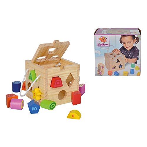 Eichhorn Steckwürfel aus Holz, Kiefernholz, Motorikwürfel mit 12 Steckbausteinen, Holzspielzeug für Kinder...