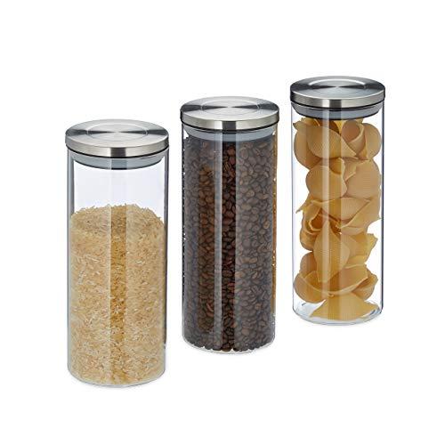 Relaxdays Vorratsglas 3er Set, luftdicht, Edelstahl Deckel, für Pasta, Müsli & Reis, 1,5 l Küchenbehälter,...