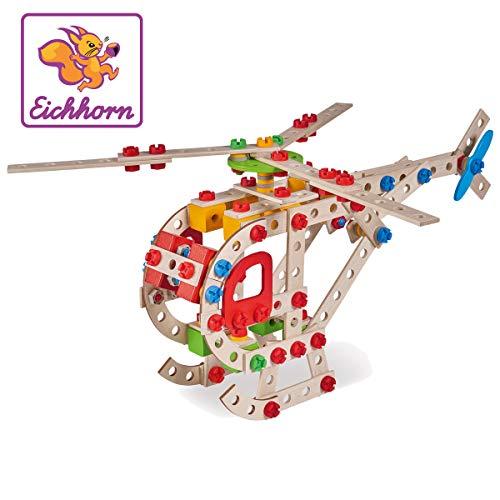 Eichhorn 100039048 - Hubschrauber 225-teilig Holz-Konstruktions-Set, 5 verschiedene Modelvarianten baubar, FSC...