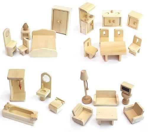 VDP Freda Möbelset Puppenmöbel Puppenhausmöbel für Puppenhaus Freda Holz 28 Teile