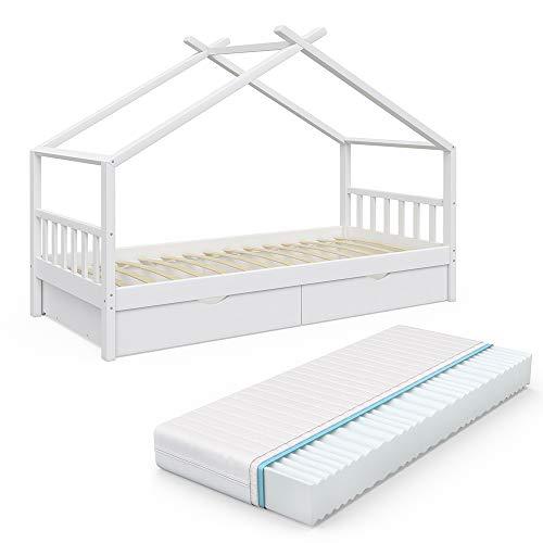 VitaliSpa Kinderbett Hausbett Design 90x200cm INKL SCHUBLADEN Kinder Bett Holz Haus Schlafen Hausbett...