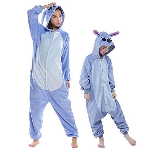 Swanka Pyjamas Stich Jumpsuit Kinder Erwachsene Tier Onesie Cosplay Kostüme Schlafanzug (Blau Stich, M)