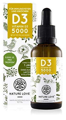 NATURE LOVE® Vitamin D3 5000 (50ml flüssig) - Mehrfacher Sieger 2020* - Laborgeprüfte 5000 I.E. pro Tropfen...