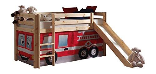 Vipack PICOHSGB1070 Spielbett Pino mit Rutsche und Textilset Feuerwehr, Maße 210 x 114 x 218 cm, Liegefläche...