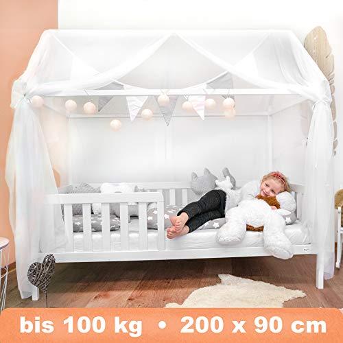 Alcube Hausbett 200x90 cm - stabiles Kinderbett mit Rausfallschutz und Lattenrost - weiß lackiertes Spielbett...
