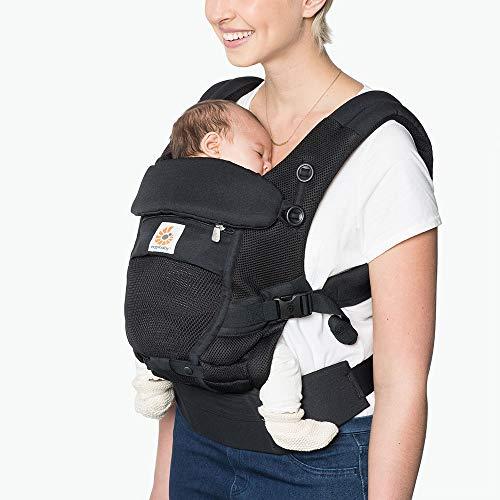 Ergobaby Babytrage für Neugeborene ab Geburt, 3in1 Adapt Cool Air Mesh Babybauchtrage Rückentrage, Onyx...