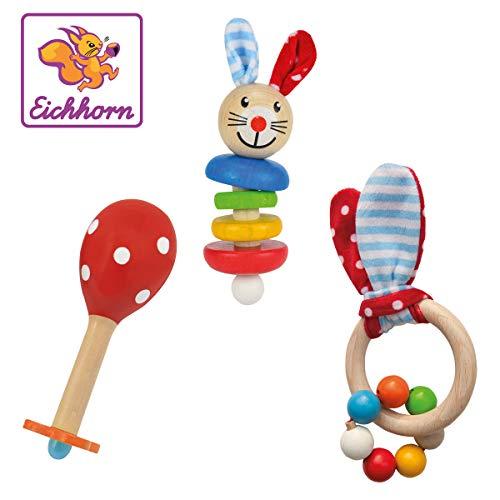 Eichhorn - Baby Starter/Geschenke Set mit Maraca, Greifling mit Sound und Greifling mit Hasenmotiv, 3-teilig,...