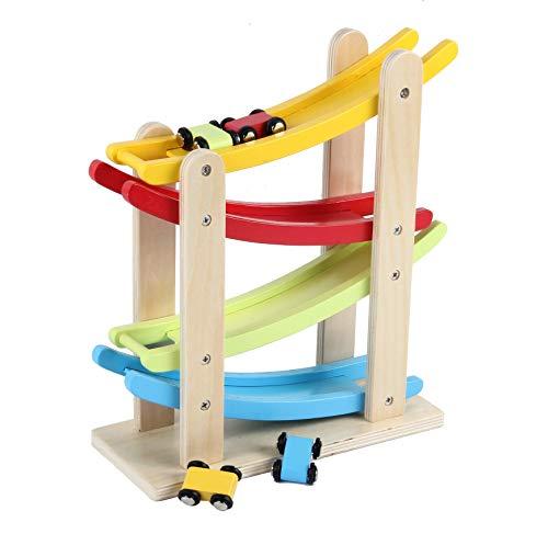 B&Julian® Auto-Rennbahn Holz Kugelbahn Murmelbahn mit 4 Autos Spiel für Kinder Baby Motorik Spielzeug 1...
