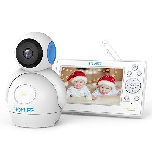 HOMIEE: Babyphone mit 360° Baby Kamera, 5 Zoll LCD Monitor und 300m Reichweite