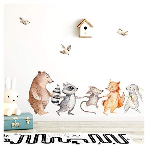 Little Deco Wandtattoo Waldtiere Hand in Hand I (BxH) 79 x 30 cm I Kinderzimmer Babyzimmer Aufkleber Sticker...