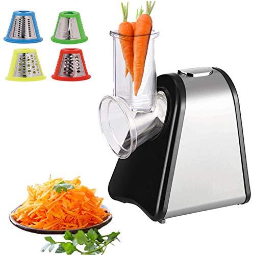 Elektrische Küchenreibe | 200 Watt | 4 Aufsätze | Trommeln aus Edelstahl | Elektrischer Gemüsehobel...
