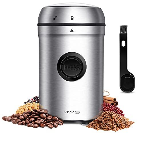 KYG Kaffeemühle 200W Elektrische Propellermühlen mit 25000 U/min Leistungsstarker Motor 80g Kapazität...