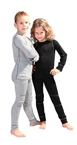icefeld® - atmungsaktives Thermo-Unterwäsche Set für Kinder - warme Wäsche aus langärmligem Oberteil +...