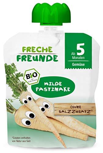 FRECHE FREUNDE Bio Beikost Gemüse Quetschie Milde Pastinake, Babynahrung ab dem 5. Monat, glutenfrei & vegan,...