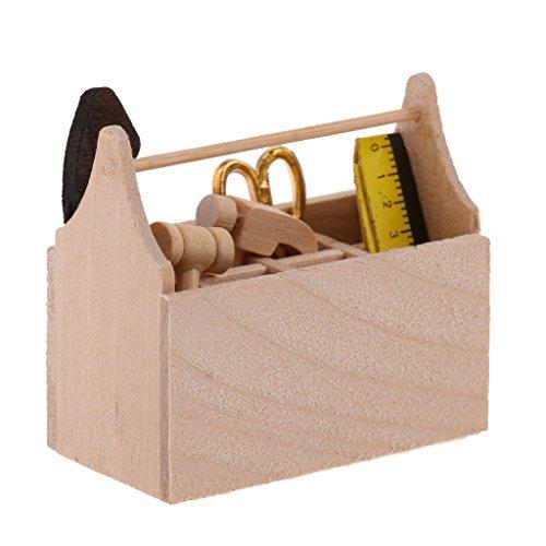 MagiDeal 1/12 Puppenhaus Zubehör - Miniatur Holz Tootkit Toolbox Werkzeuge Kit - 4,6 x 2,4 x 4 cm