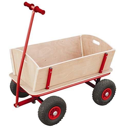 Izzy Bollerwagen Holz Kinder Luftreifen 100kg für alle Gelände geeignet (Holzbollerwagen mit pannensicheren...