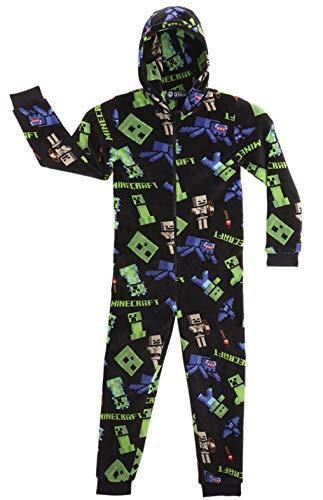Minecraft Onesie, Jumpsuit Jungen, Kinder Schlafanzug, Super Soft Fleece Schlafoverall für Kinder und...
