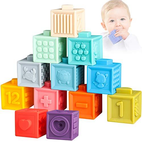 Sunarrive Weich Baby Bausteine - Motorikspielzeug Bauklötze Stapelwürfel - Babyspielzeug Badespielzeug -...