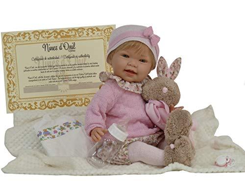 Reborn-Puppe Tita mit Häschen R/1035.Weicher parfümierter Körper mit Kopf,Armen und Beinen aus Vinyl.Puppe...