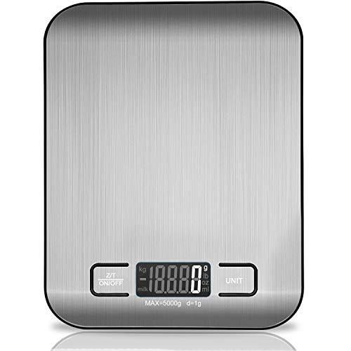 VIBOOS Digitale Küchenwaage, 5 kg hochwertige elektronische Kochwaage aus Edelstahl,stilvolle ultradünne...