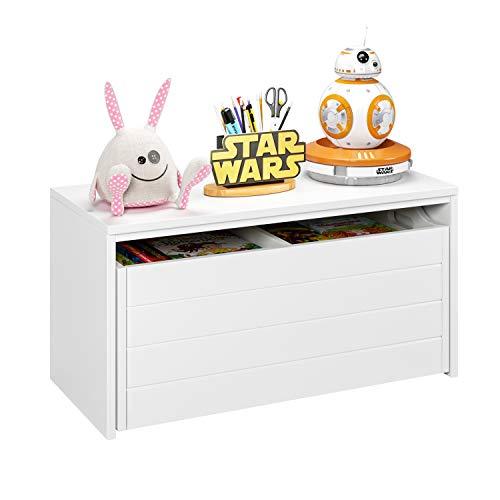 HOMECHO Spielzeugkiste auf Rollen Kinderregal Sitzbank mit Stauraum Truhen Kommode mit 2 Schubkästen...