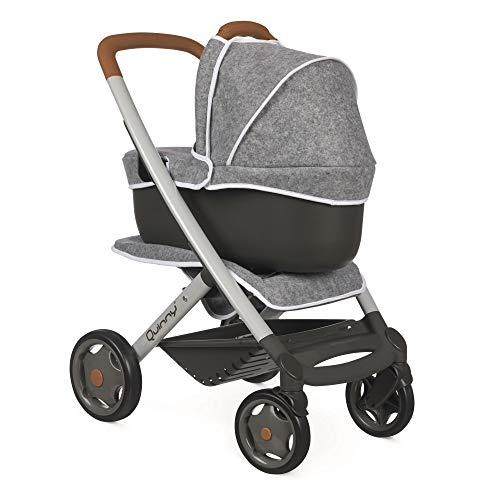 Smoby - Quinny 3in1 Multifunktions-Puppenwagen Grau - für Puppen bis 42 cm – wandelbarer Puppenwagen für...
