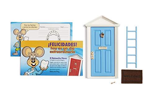 🐭 Ratoncito Perez : Magische Tür Blau + Treppen + Schlüssel + Fußmatte + Glückwunschkarte
