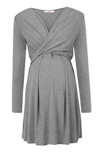 bellybutton Maternity Damen Alina-Stillkleid 1/1 Arm Umstandskleid, Grau (Middle 8500), 38 (Herstellergröße:...