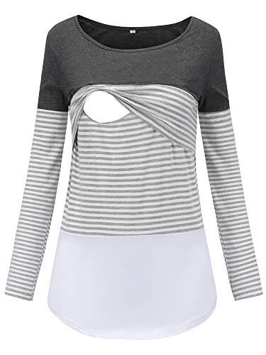Love2Mi Damen Stillshirt Langarm Schwanger T-Shirt Umstandsshirt Nursing Tops Schwangerschafts...