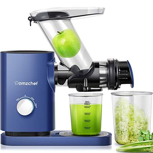 AMZCHEF Professioneller Slow Juicer, Entsafter für Obst/Gemüse, Zwei Geschwindigkeiten, Geräuschloser...