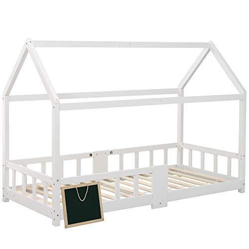ZOEON Kinderbett 90 x 200 cm mit Rausfallschutz, Tafel - Hausbett für Kinder mädchen aus Holz im...